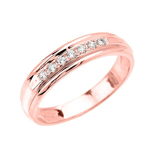Men's 14k Rose Gold Diamond Wedding Band (Size 12)