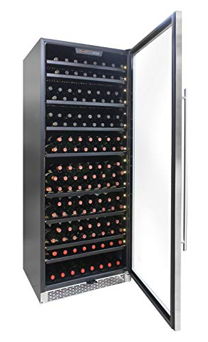 Vinotemp EL-300SS-WC 300 Bottle Single-Zone Wine Cooler Freestanding or Built-in, with Door Lock and Key, LED Lighting, Front Exhaust, and 1 Year Parts and Labor Warranty
