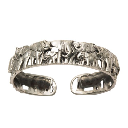 Sterling Silver Elephant Herd Bangle by Wild Things