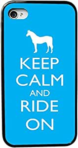 Rikki KnightTM Keep Calm and Ride On - Sky Blue Color Design iPhone 5 & 5s Case Cover (Black Rubber with bumper protection) for Apple iPhone 5 & 5s
