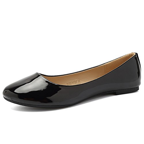 CIOR Women Ballet Flats Classy Simple Casual Slip-on Comfort Walking Shoes from Merence,BlackPatent,234,5.5M