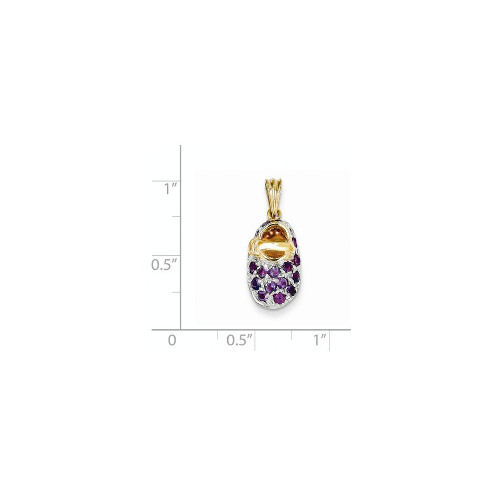 ICE CARATS 14k Yellow Gold Prong Set February/amethyst Baby Shoe Pendant Charm Necklace Birthstone Fine Jewelry Gift Set For Women Heart by ICE CARATS (Image #4)