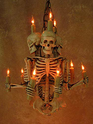 Skeleton Chandelier, Three Harvey Jr. Skeletons Holding Candles]()
