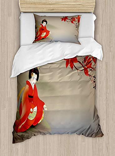 MIGAGA Koi Fish Duvet Cover Set Twin Size, Geisha Feeding Sacred Beast Autumn Time Asian Culture Eastern Vibes Oriental, Decorative 2 Piece Bedding Set with 1 Pillow Sham, Sepia Colorcolor