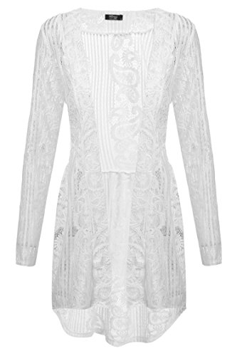 Zeagoo Women Long Sleeve Sheer Lace Crochet Open Front Cardigan Tops,(A)white 4,X-Large