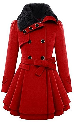 Red Overcoat (Acelyn Women's Lapel Double-Breasted Thick Wool Trench OverCoat Jacket Large Red)