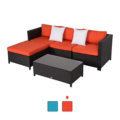 Peachtree Press Inc 5 PCs Outdoor Patio PE Rattan Wicker Sofa Sectional Furniture Set with 2 Pillows and Coffee Table (Patio Black Friday Furniture Wicker)