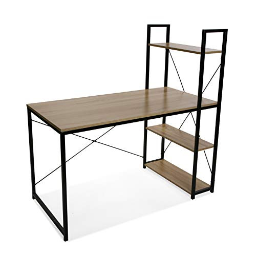 Versa 21710001 Mesa Escritorio con estanteria 3 baldas OMA, Madera y Metal, marron y Negro, 120 x 64 x 120 cm