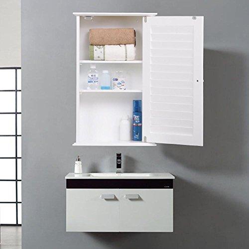 Yaheetech White Wood Bathroom Wall Mount Cabinet Toilet Medicine Storage Organizer Single Door with Adjustable Shelves - Single Door Medicine