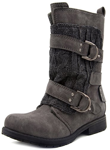 Rampage Womens Jelly Winter Moto Boot with Cable Knit Overlay 8 Grey ()