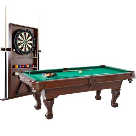 "Barrington 90"" Ball and Claw Leg Pool Table with Cue Rack and Dartboard Set, Green Cloth"