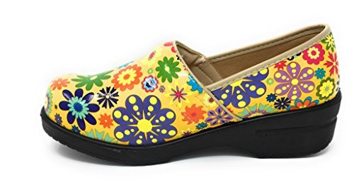 Rasolli Women's Professional Closed Back Clogs, Flower Power, Yellow, Size 8.5 by Rasolli (Image #1)