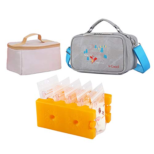 Breastmilk Cooler Tote Shoulder Bags for Commutes Daycare Trips, Bonus 2 Pcs Ice Packs, 30 Pcs Breastmilk Storage Bags, 30 Pcs Bottle Labels, 1 Pcs Insulated Inner Container, 1Pcs Clip (Gray)