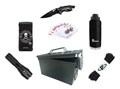(Order Your Life Morning Survivor Ammo Can Gift Set - Coffee, Paracord, Knife, Insulated Bottle, Waterproof Playing Cards, Tactical Flashlight (Black Bottle) )