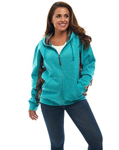 (TrailCrest Mossy Oak Camo Women's Full Zip Up Hoodie Sweatshirt/Jacket)