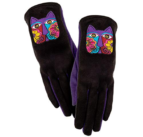 """Laurel Burch""""FLORAL CAT"""" Women's Gloves - Embroidered Cat On Black Purple"""