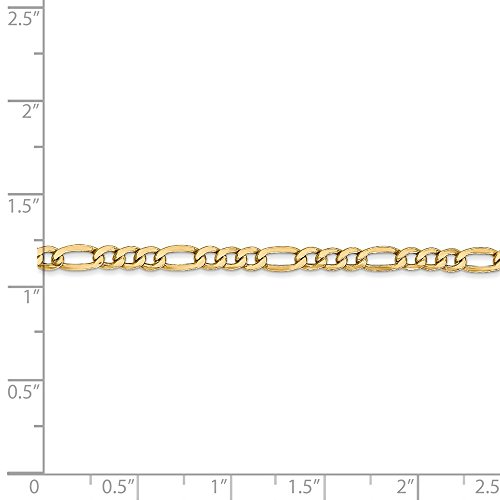 14k Yellow Gold 8in 3.5mm Solid Lightweight Men's Figaro Chain Bracelet from Jewelry Pot
