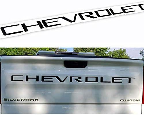 [해외]Guzetop 테일게이트 인서트 글자 3D 레이즈 테일게이트 데칼 레터 2019 쉐보레 실버라도 쉐보레 엠블럼 (매트 블랙) / Guzetop Tailgate Insert Letters 3D Raised Tailgate Decal Letters fit for 2019 Chevy Silverado Chevrolet Emblem (Matte Bl...