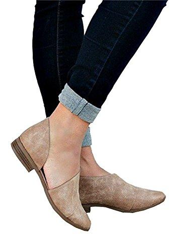 Leder Frauen Sandalen spitzen flache lässig böhmischen Retro Mode Aprikose Kopf bequem Sommer Strand Minetom® Schuhe XBxZTX