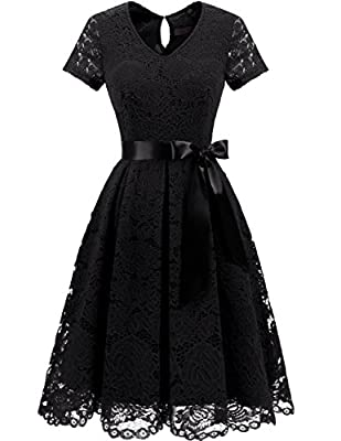 DRESSTELLS Women's Elegant Bridesmaid Dress Floral Lace Dresses with Short Sleeves