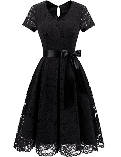 DRESSTELLS Women's Elegant Bridesmaid Dress Floral Lace Party Swing Dresses with Short Sleeves Black -