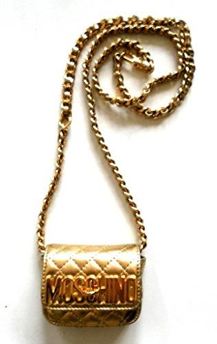 Piel Moschino cruzados mujer dorado para de dorado Bolso qWTwSHg