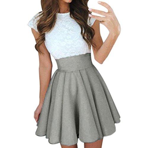 BZLine? Jupe t Femmes Taille Haute lgante Longue Classique Chic Pliss Stretch Bureau Casual Cocktail Party Skirt Gris