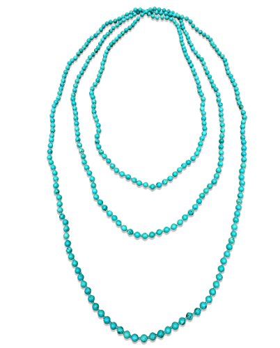 BjB 70 Inch 4MM Natural Polished Blue Magnesite Beaded Light Weight Endless Infinity Long Necklace