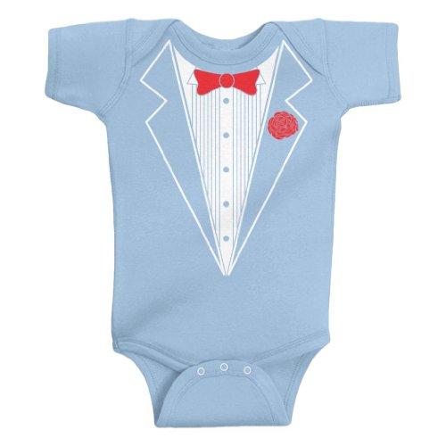 Threadrock Unisex Baby Tuxedo Bodysuit 12M Light (Baby Blue Tux)
