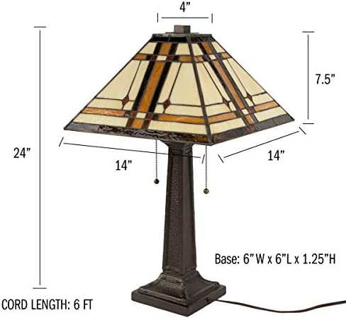 Lavish Home A100079 Tiffany Style Table Lamp Mission Design Art Glass Lighting 2 LED Bulbs Included-Vintage Look Handcrafted Accent Decor, Multi-Color