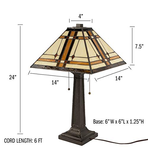 Lavish Home A1000B1 Tiffany Style Table Lamp Mission Design Art Glass Lighting 2 LED Bulbs Included-Vintage Look Handcrafted Accent Decor, Various