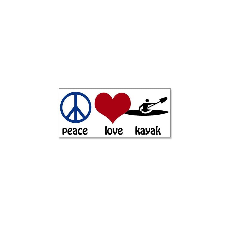 Peace Love Kayak Bumper Sticker (kayaking paddle)