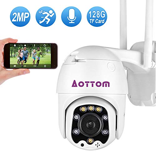 1080P PTZ Security Camera Outdoor, Aottom CCTV Wireless IP Camera, 2-Way Audio Night Vision Motion Detection, Home…