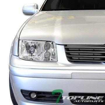 - Topline Autopart Chrome Clear Housing Headlights Signal & Build In Fog Lamps DY For 99-05 Volkswagen MK4 Jetta/Bora