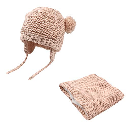 - BAVST Baby Girls Boys Winter Hat Scarf Set Pompom Warm Knit Beanie and Neck Warmer with Fleece Lining 2pcs for 0-2 Years (Pink 2, M(4-10M))