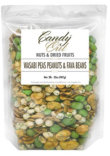 CandyOut Wasabi Snack 2 Pound Broad Beans Peas and Peanuts in Resealable Bag by CandyOut