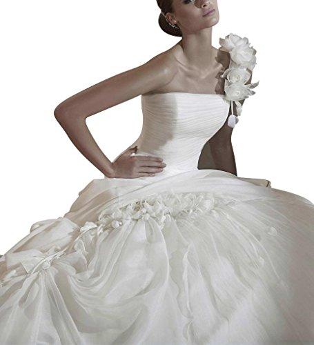 auf GEORGE BRIDE der Schulter Pick Elfenbein Handmade Ballkleid Blume mit Elegante up U8rwxq81