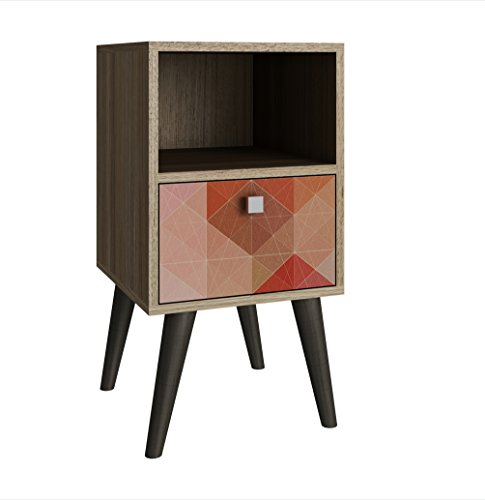 Manhattan Comfort Abisko Collection Mid Century Modern Free Standing 1 Drawer End Table/Side Table, Oak/Stamp/Grey