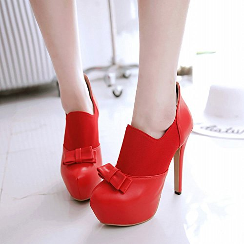 Ankle Foot Womens Zipper Heel Boots Platform High Red Sexy Bows Charm Zwq8Swp