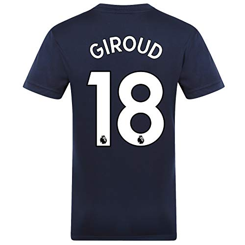 Chelsea FC Mens Giroud 18 Poly Training Kit T-Shirt Navy Royal Stripe XL