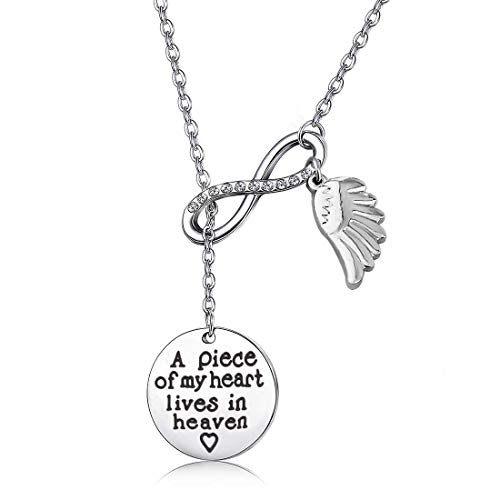 Memorial Jewelry Sympathy Gift A Piece of My Heart Lives In Heaven Lariat Y Necklace Loss Jewelry Gift (Y neckalce) (Too Earth For Necklace Beautiful)