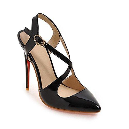Zapatos de Mujer PU Primavera Verano Comfort Novedad Tacones Stiletto Heel Ladies Punta Estrecha para el Banquete de Boda y la Noche Blanco, Negro, Beige (Color : Negro, tamaño : 40)
