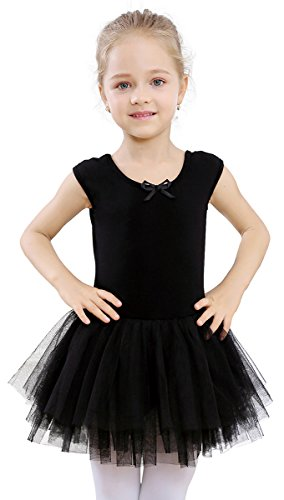 STELLE Toddler/Girls Tank Tutu Dress Leotard for Dance, Gymnastics and Ballet(Black, 85cm(2-3Y))