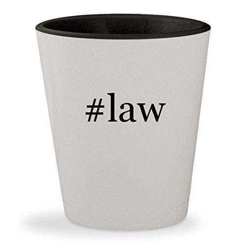 #law - Hashtag White Outer & Black Inner Ceramic 1.5oz Shot Glass