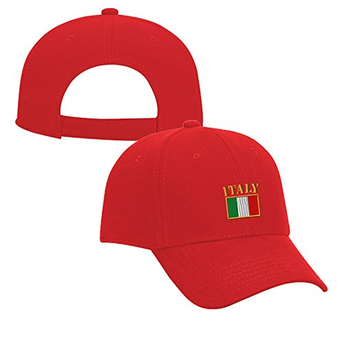 Italy Flag Embroidery Adjustable Structured Baseball Hat Red