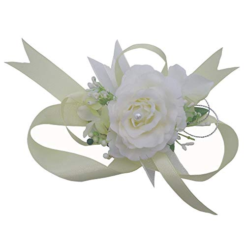 (Arlai Wrist Corsage Wristband Roses Wrist Corsage for Prom, Party, Wedding Beige)