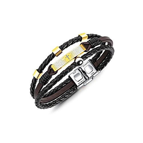 Unisex Jewelry Leather Bracelet Religious Multi-layer Braided Wrist Cuff with Spanish Bible (Mens Designer Bracelet)