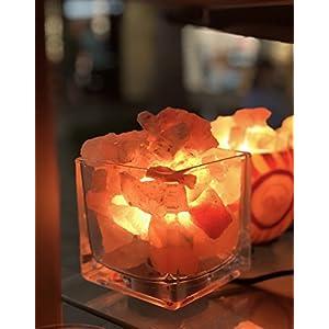 Himalayan CrystalLitez Himalayan Salt Lamp With Dimmer Cord, Original Salt Crystals In A Glass Bowl, Aromatherapy Salt Lamp (Square)