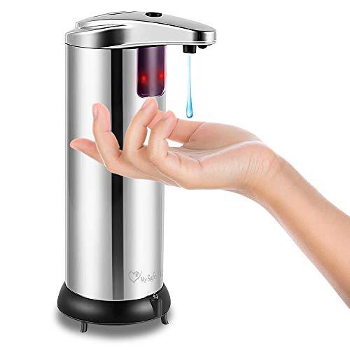 My Safe Home Hands Free Soap Dispenser – Stainless Steel Auto Soap Dispenser – Infrared Motion Sensor – Waterproof…