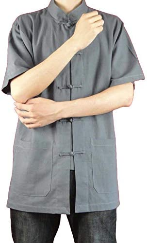 100% Cotton Grey Kung Fu Martial Arts Tai Chi Shirt Clothing XS-XL or Tailor Custom Made+ Free Magazine